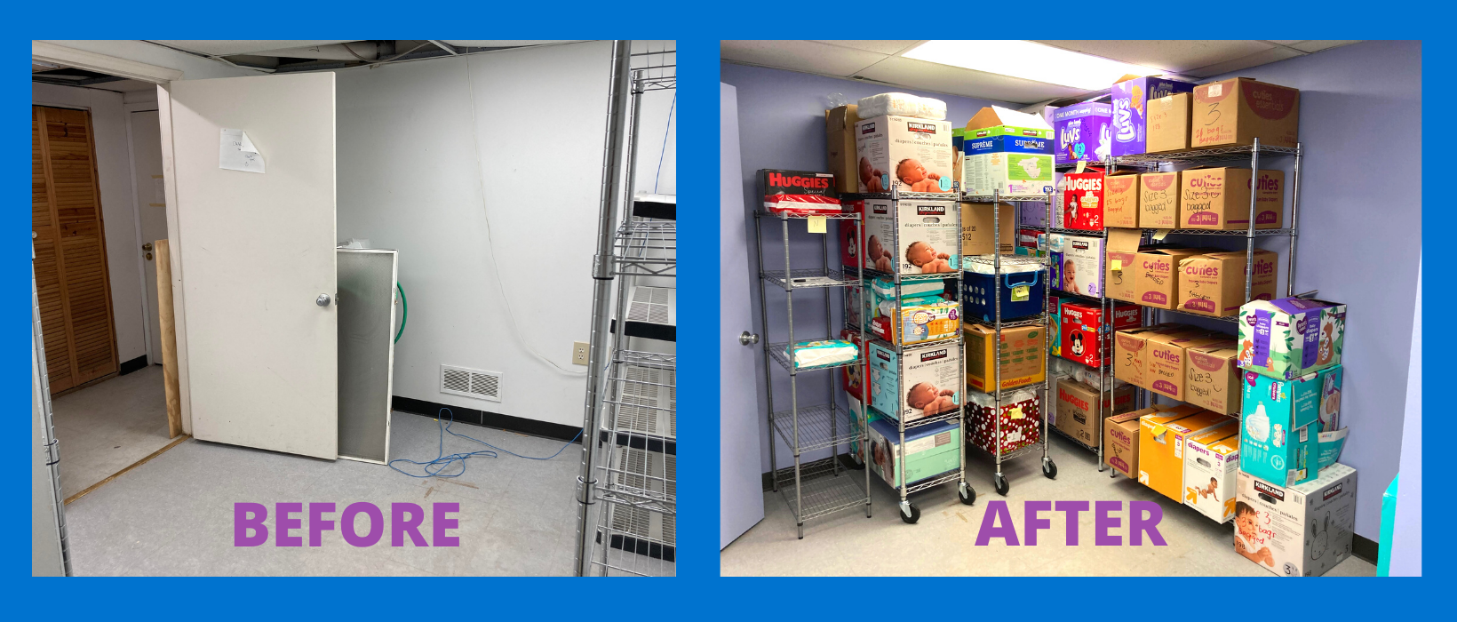 Before and After of Diaper Pantry. Before photo: empty room with white walls. After: room painted light purple with metal shelving lining two of the walls. The shelves are filled with boxes of diapers.