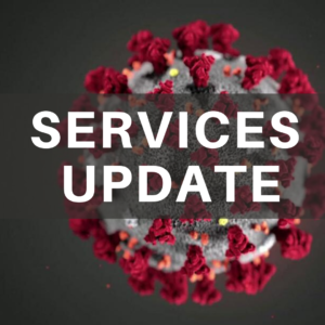 Service Update text over CDC photo of coronavirus