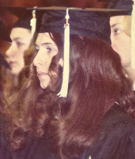 Kathy Stevens in graduation cap 1972