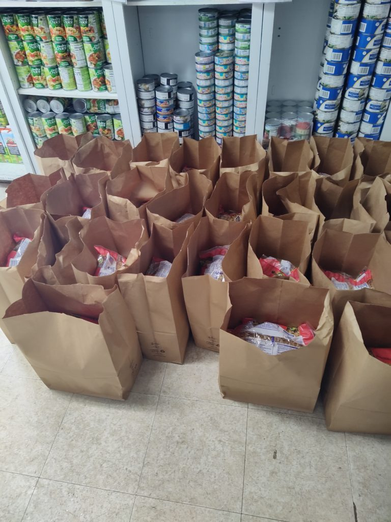 Bags of food lined up