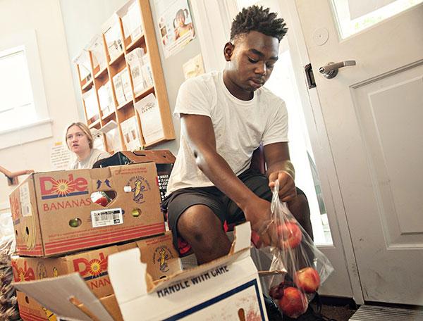 Volunteer at food pantry